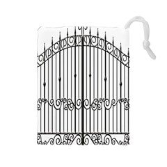 Inspirative Iron Gate Fence Drawstring Pouches (large)