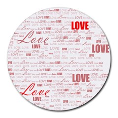 Love Heart Valentine Pink Red Romantic Round Mousepads