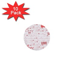 Love Heart Valentine Pink Red Romantic 1  Mini Buttons (10 Pack)