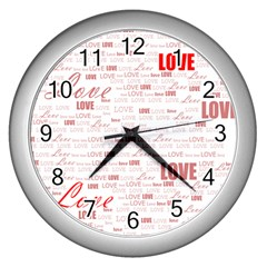 Love Heart Valentine Pink Red Romantic Wall Clocks (silver)