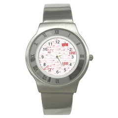 Love Heart Valentine Pink Red Romantic Stainless Steel Watch