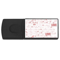 Love Heart Valentine Pink Red Romantic Rectangular Usb Flash Drive
