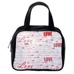 Love Heart Valentine Pink Red Romantic Classic Handbags (one Side)