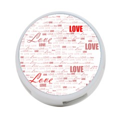 Love Heart Valentine Pink Red Romantic 4 Port Usb Hub (two Sides)