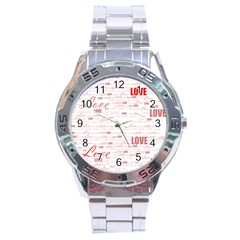 Love Heart Valentine Pink Red Romantic Stainless Steel Analogue Watch