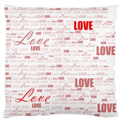 Love Heart Valentine Pink Red Romantic Large Flano Cushion Case (two Sides)