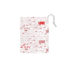 Love Heart Valentine Pink Red Romantic Drawstring Pouches (xs)