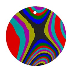 Pattern Rainbow Colorfull Wave Chevron Waves Ornament (round)