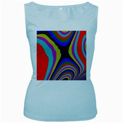 Pattern Rainbow Colorfull Wave Chevron Waves Women s Baby Blue Tank Top