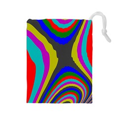 Pattern Rainbow Colorfull Wave Chevron Waves Drawstring Pouches (large)