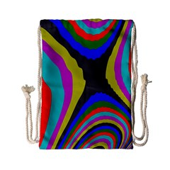Pattern Rainbow Colorfull Wave Chevron Waves Drawstring Bag (small)