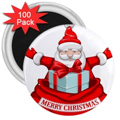 Merry Christmas Santa Claus 3  Magnets (100 Pack) by Alisyart