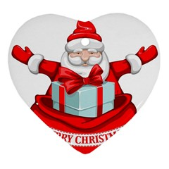 Merry Christmas Santa Claus Heart Ornament (two Sides)