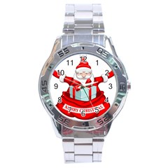 Merry Christmas Santa Claus Stainless Steel Analogue Watch by Alisyart