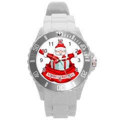 Merry Christmas Santa Claus Round Plastic Sport Watch (l)