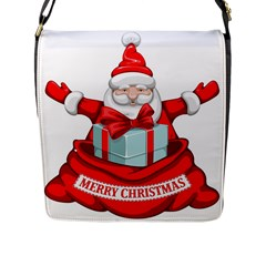 Merry Christmas Santa Claus Flap Messenger Bag (l)  by Alisyart