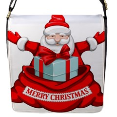 Merry Christmas Santa Claus Flap Messenger Bag (s) by Alisyart