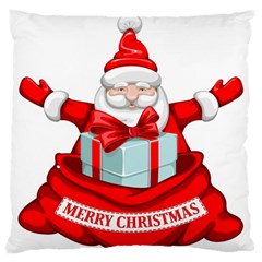 Merry Christmas Santa Claus Large Flano Cushion Case (one Side) by Alisyart