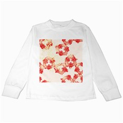 Pattern Flower Red Plaid Green Kids Long Sleeve T Shirts by Alisyart