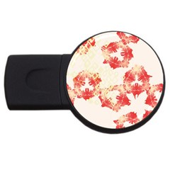 Pattern Flower Red Plaid Green Usb Flash Drive Round (4 Gb) by Alisyart