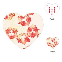 Pattern Flower Red Plaid Green Playing Cards (heart)