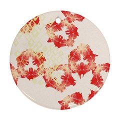 Pattern Flower Red Plaid Green Round Ornament (two Sides)