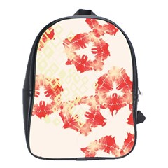 Pattern Flower Red Plaid Green School Bag (large)