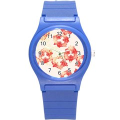 Pattern Flower Red Plaid Green Round Plastic Sport Watch (s)