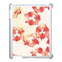 Pattern Flower Red Plaid Green Apple Ipad 3/4 Case (white)
