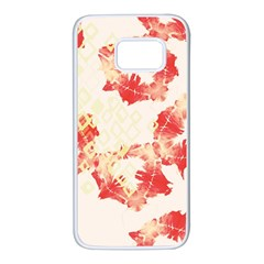 Pattern Flower Red Plaid Green Samsung Galaxy S7 White Seamless Case by Alisyart