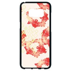 Pattern Flower Red Plaid Green Samsung Galaxy S8 Black Seamless Case by Alisyart