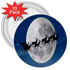 Santa Claus Christmas Fly Moon Night Blue Sky 3  Buttons (10 Pack)