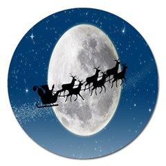Santa Claus Christmas Fly Moon Night Blue Sky Magnet 5  (round)
