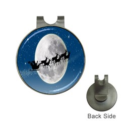 Santa Claus Christmas Fly Moon Night Blue Sky Hat Clips With Golf Markers by Alisyart