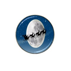 Santa Claus Christmas Fly Moon Night Blue Sky Hat Clip Ball Marker (4 Pack)