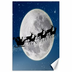 Santa Claus Christmas Fly Moon Night Blue Sky Canvas 20  X 30