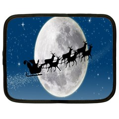 Santa Claus Christmas Fly Moon Night Blue Sky Netbook Case (xxl)