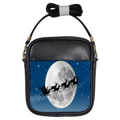 Santa Claus Christmas Fly Moon Night Blue Sky Girls Sling Bags