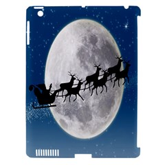 Santa Claus Christmas Fly Moon Night Blue Sky Apple Ipad 3/4 Hardshell Case (compatible With Smart Cover) by Alisyart