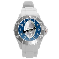 Santa Claus Christmas Fly Moon Night Blue Sky Round Plastic Sport Watch (l) by Alisyart
