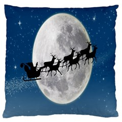 Santa Claus Christmas Fly Moon Night Blue Sky Large Cushion Case (two Sides)