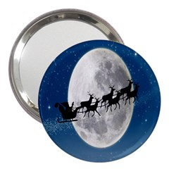 Santa Claus Christmas Fly Moon Night Blue Sky 3  Handbag Mirrors