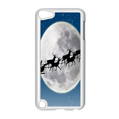 Santa Claus Christmas Fly Moon Night Blue Sky Apple Ipod Touch 5 Case (white)