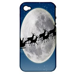 Santa Claus Christmas Fly Moon Night Blue Sky Apple Iphone 4/4s Hardshell Case (pc+silicone)