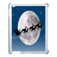 Santa Claus Christmas Fly Moon Night Blue Sky Apple Ipad 3/4 Case (white)