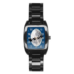 Santa Claus Christmas Fly Moon Night Blue Sky Stainless Steel Barrel Watch