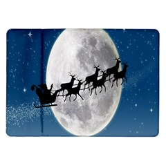 Santa Claus Christmas Fly Moon Night Blue Sky Samsung Galaxy Tab 10 1  P7500 Flip Case