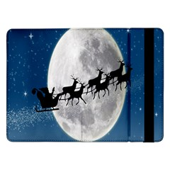 Santa Claus Christmas Fly Moon Night Blue Sky Samsung Galaxy Tab Pro 12 2  Flip Case