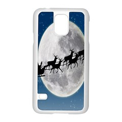 Santa Claus Christmas Fly Moon Night Blue Sky Samsung Galaxy S5 Case (white)