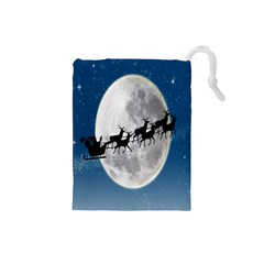 Santa Claus Christmas Fly Moon Night Blue Sky Drawstring Pouches (small)